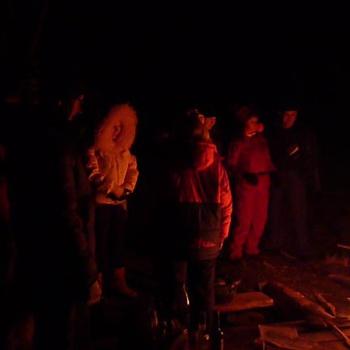 Ночной пикник в русле реки Аксаут, январь 2011